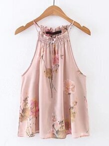 Sleeveless Floral Chiffon Top