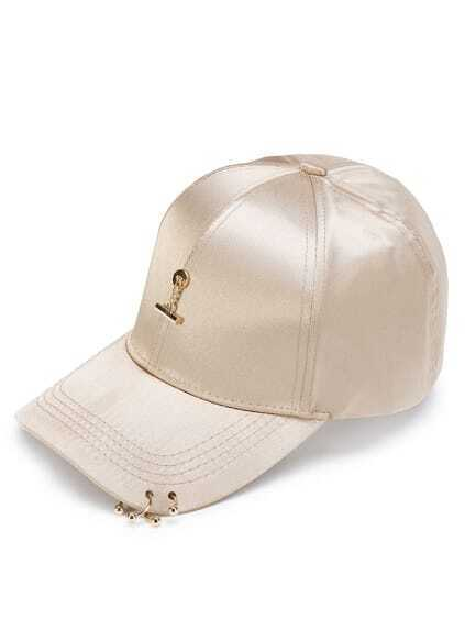 Metal Detail Satin Baseball Cap