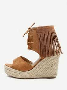 Fringe Design Lace Up Wedge Sandals