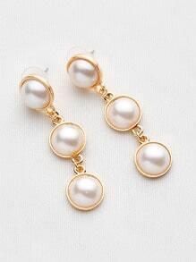 Pendientes con ribete de metal con perla de imitación
