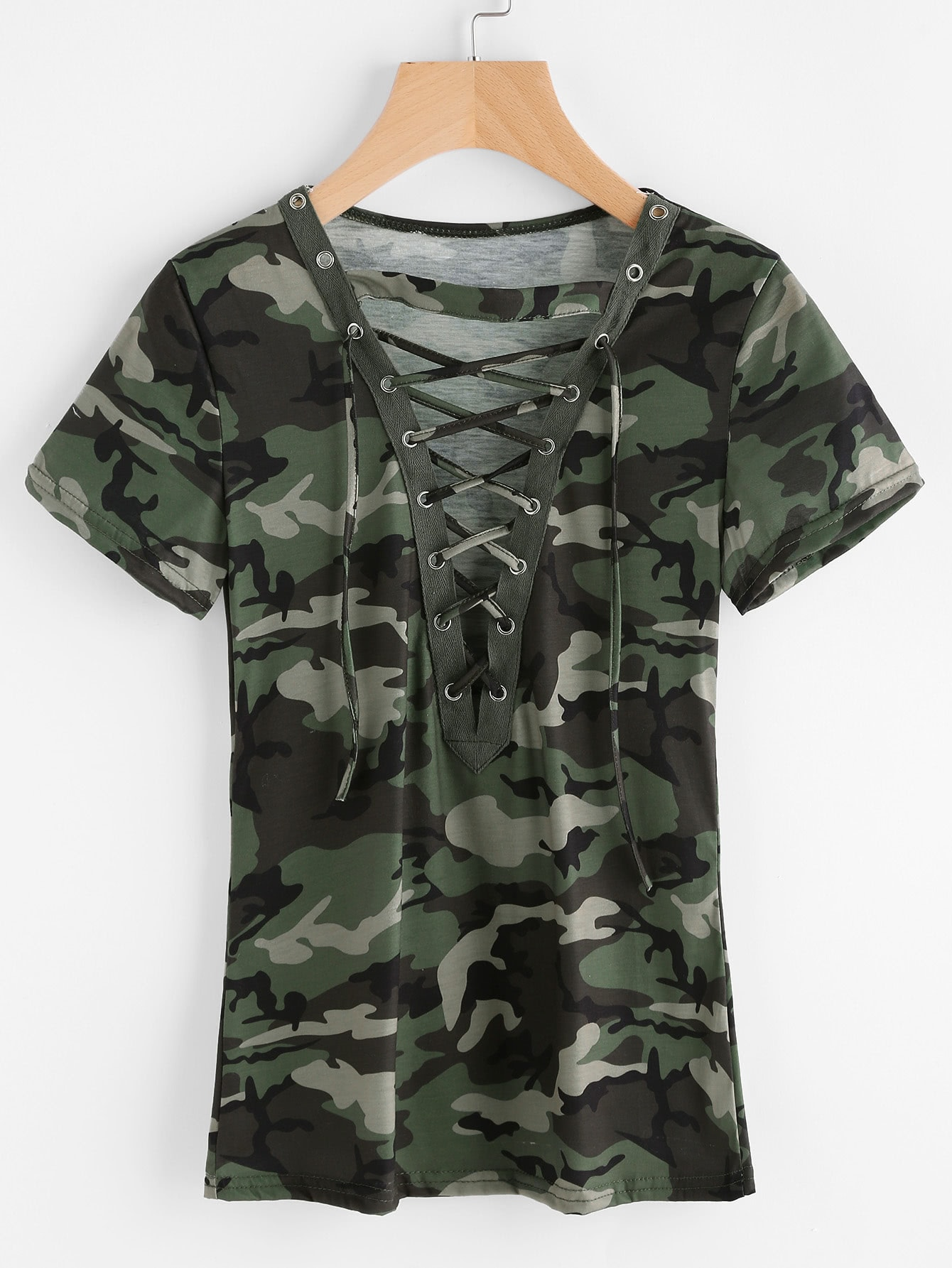 Camouflage print lace up front teefor women romwe for Camouflage t shirt printing