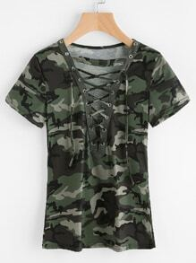 Camouflage Print Lace Up Front Tee