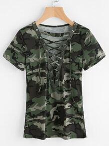 Tee-shirt imprimé camouflage en dentelle