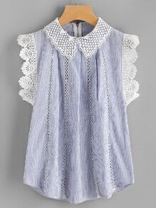 Contrast Crochet Lace Trim Pinstriped Blouse