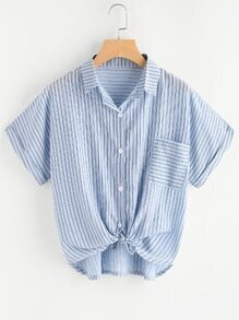 Blusa de rayas de manga de doblez con nudo