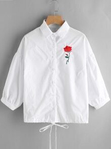 Rose Embroidered Drop Shoulder Drawstring Hem Shirt