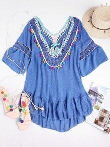 Contrast Crochet V Back Tassel Tie Pom Pom Dress