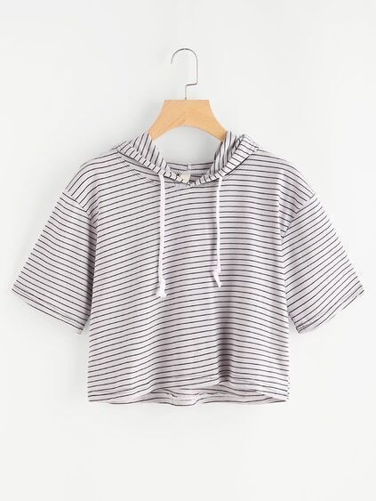Hooded Stripe Crop Sweatshirt