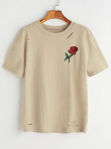 Rose Embroidered Patch Ripped Tee