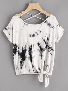 Water Color Knot Side Criss Cross Back Tee