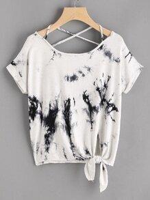 Tee-shirt aquarelle croisé à dos avec un nœud