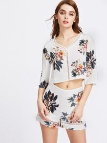 Floral Print Random Hollow Out Crop Blouse And Shorts Set