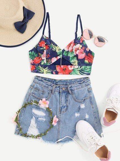 Floral Print Cut Out Front Zip Back Crop Cami Top