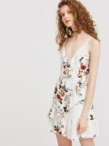 White Floral Ruffle Trim Slip Dress