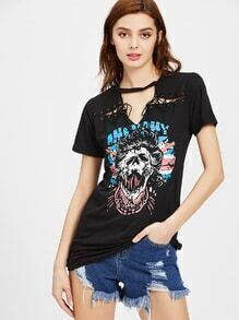 Graphic V Cut Choker Neck Eyelet Lace Up long Tee
