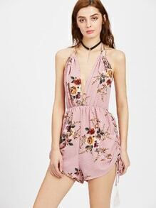 Plunge Halter Self Tie Backless Floral Playsuit