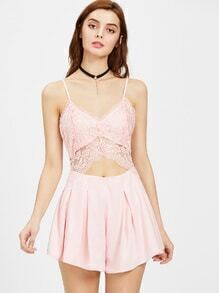 Cami Straps Lace Trim Cut Out Playsuit