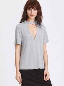 Grey V Neck Choker T-shirt