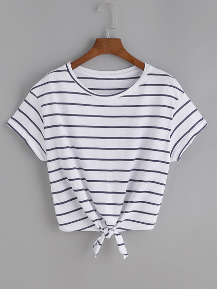 Striped Knot Front Tee