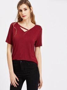 Col V chemise à manches courtes bandes - bourgogne