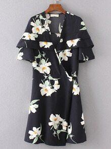 Surplice Front Layered Ruffle Dress