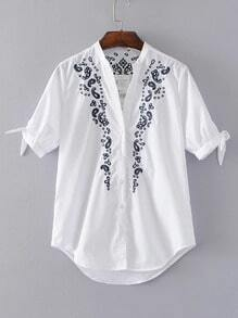 Flower Embroidery Tie Cuff High Low Blouse