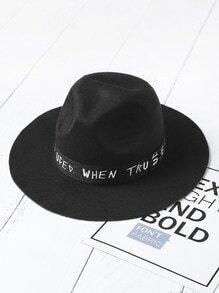 Sombrero fedora con estampado de slogan