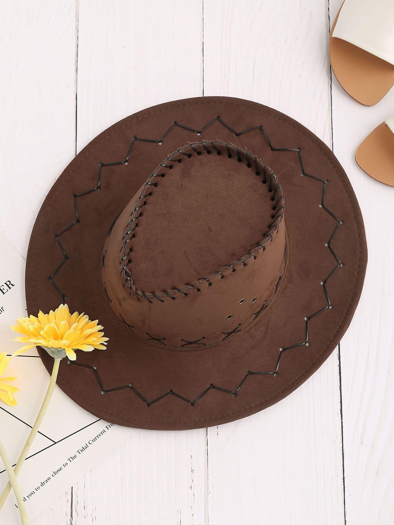 Criss Cross Detail Cowboy Hat hat170421304