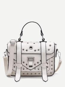 Grommet Design Satchel Bag With Adjustable Strap