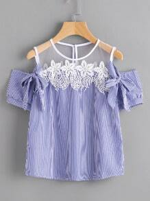 Vertical Pinstripe Contrast Lace Bow Tie Detailed Top