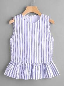 Vertical Pinstripe Sleeveless Peplum Top