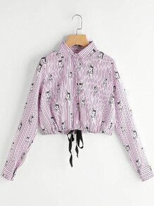 Blusa de rayas estampada de gato con cordón delantero