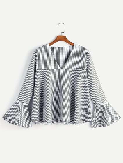V Neckline Gingham Bell Sleeve Top
