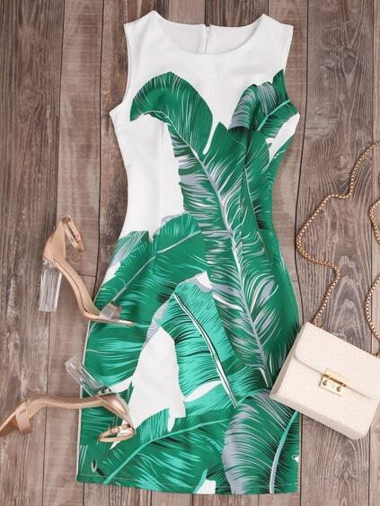 Palm Leaf Print Zipper Back Tank Dress