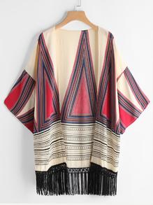 Kimono con fleco con estampado geométrico