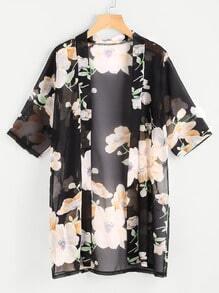 Floral Print Chiffon Kimono