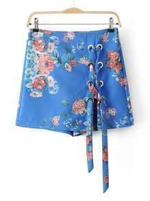 Floral Eyelet Lace Up Skirt Shorts