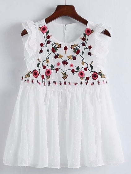 Flower Embroidery Pleated Hem Ruffle Trim Top