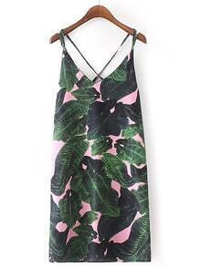 Robe tropicale pour imprimé tropical Criss Cross Back