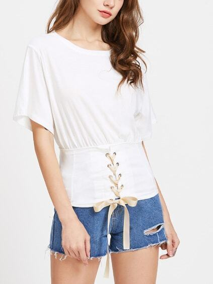 White Waist Eyelet Lace Up T-shirt