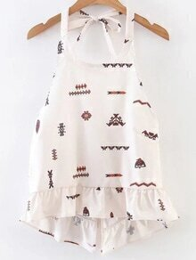 White Printed Tie Back High Low Top