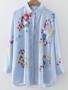 Blusa de rayas verticales con pintura - azul
