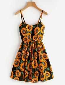 Vestido de tirante de espalda con cordón con estampado de girasol al azar