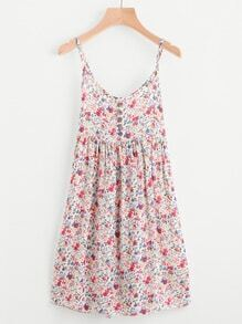 Ditsy Print Random Single Breasted Cami Dress