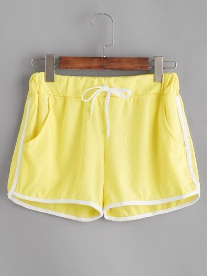 Drawstring Waist Runner Shorts With Contrast Binding