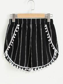 Striped Shorts With Pom Pom Trim