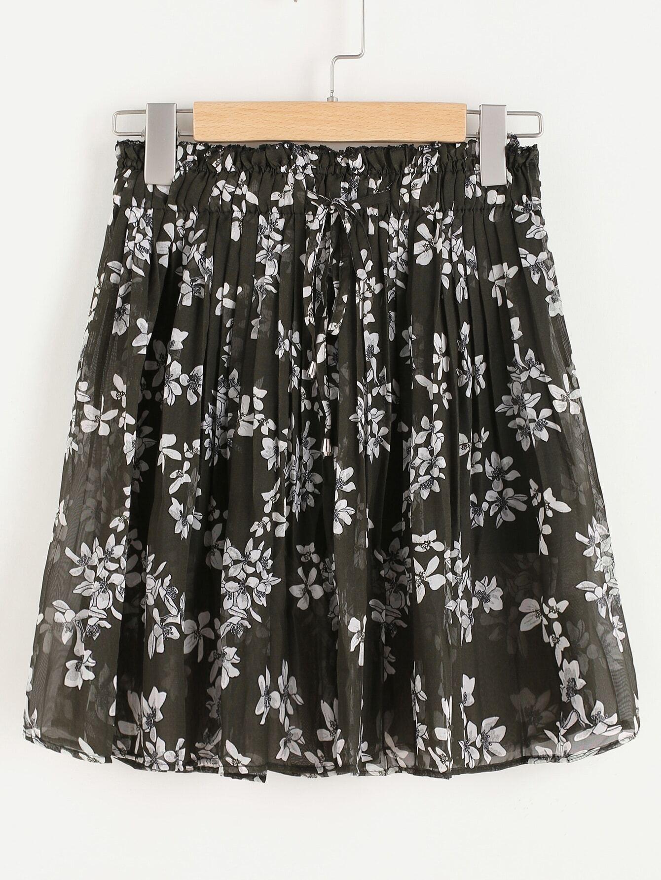 Ditsy Print Random Drawstring Waist Chiffon Skirt