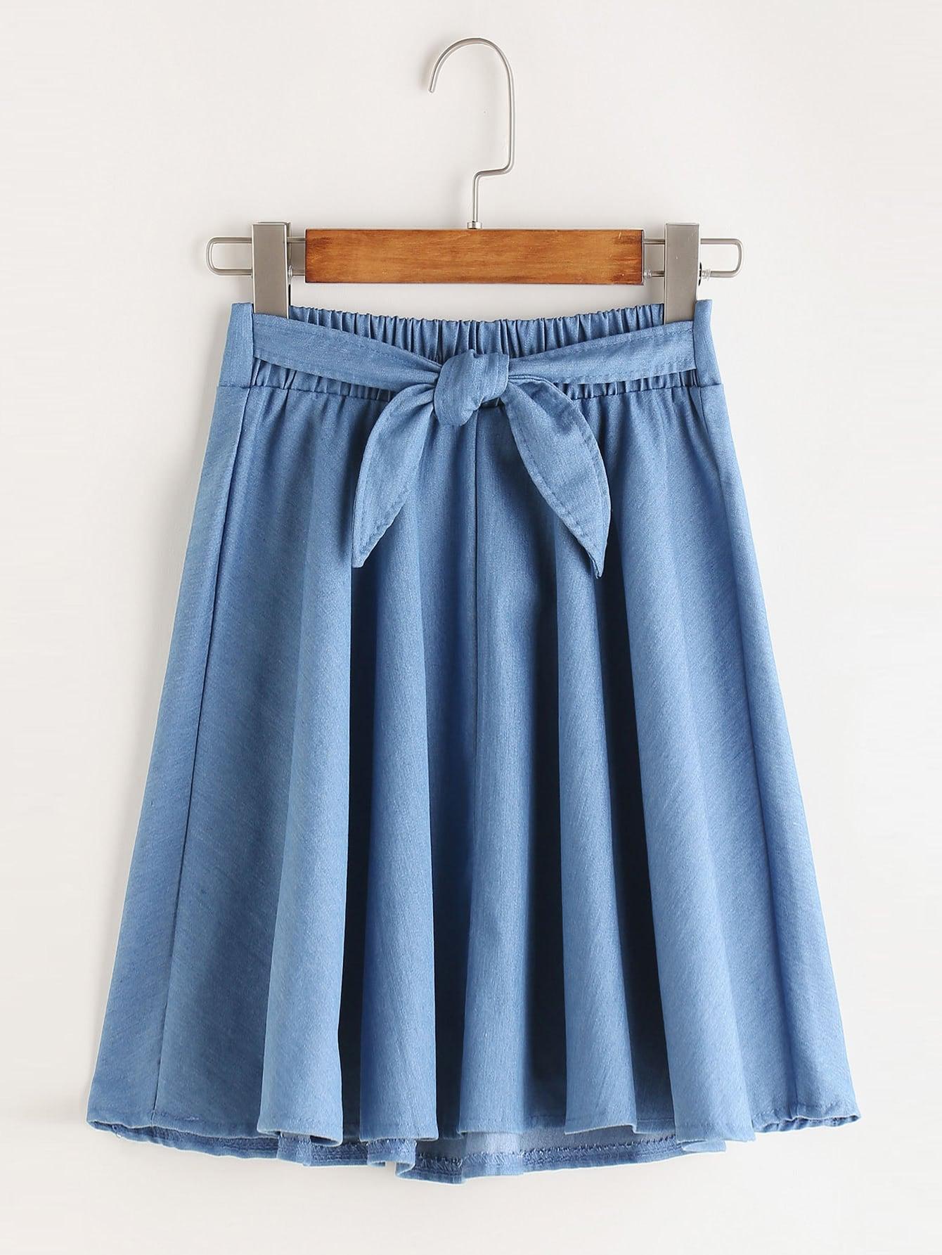 Shirred Tie Waist Pleated A Line Skirt