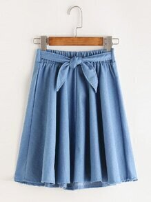 Shirred Tie Waist Pleated A Line Skirt