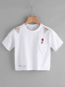 Rose Print Cut Out Ripped Tee With Chest Pocket